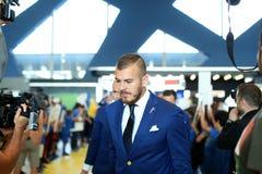 Denis Alibec. Romania football team going to Euro 2016 France, departure from Henri Coanda Bucharest Airport Stock Photos