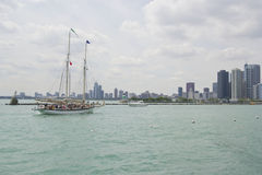 Denis Sullivan Schooner at sail. Tall ships docked at Navy Pier in Chicago. They appear every two years from ports across the united states royalty free stock images