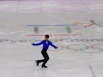 Denis Ten van Kazachstan voert bij Mensen Enig het Schaatsen Kort Programma uit bij de 2018 de Winterolympische spelen stock afbeeldingen