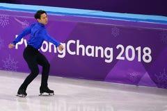 Denis Ten van Kazachstan voert bij Mensen Enig het Schaatsen Kort Programma uit bij de 2018 de Winterolympische spelen royalty-vrije stock afbeeldingen