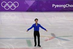 Denis Ten van Kazachstan voert bij Mensen Enig het Schaatsen Kort Programma uit bij de 2018 de Winterolympische spelen stock foto