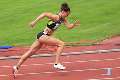 Denisa Rosolova - 400 metres hurdles in Prague Stock Photos