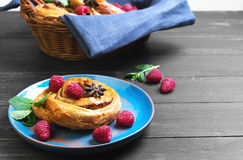 Denish Biscuits with raspberries Stock Images