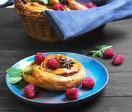 Denish Biscuits with raspberries Royalty Free Stock Photo