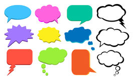 Denk bel, kleurrijke wolk van gedachten, vectorreeks Stock Foto