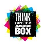 Denk buiten de de motivatie van doos artistieke grunge creatieve het van letters voorzien samenstelling Vector ontwerpelement vector illustratie