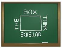 Denk buiten de doos. Stock Afbeeldingen