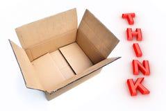 Denk buiten de doos Stock Foto