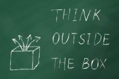 DENK BUITEN de DOOS op een groen schoolbord Stock Fotografie
