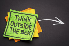 Denk buiten de doosherinnering Stock Foto's