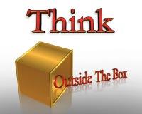 Denk buiten de Van de Bedrijfs doos Slogan Stock Foto's