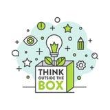 Denk buiten het doosconcept Stock Afbeelding