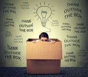 Denk buiten het doosconcept Doen schrikken jonge vrouwenzitting binnen doos Royalty-vrije Stock Foto