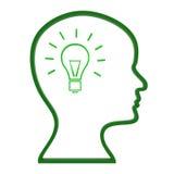 Denk de Ideeën wijst op de Innovaties en Creativiteit nadenken Stock Fotografie