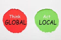 Denk globale handeling lokaal royalty-vrije stock foto's