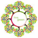 Denk groen ecoconcept Gekleurde boom Vectorillustratie Stock Foto