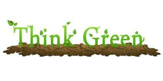 Denk Groen om ons milieu te bewaren Royalty-vrije Stock Fotografie