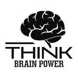 Denk het embleem van de hersenenmacht, eenvoudige stijl royalty-vrije illustratie