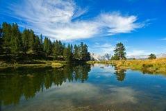 Denk in het water van een meer na Stock Afbeelding