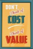 Denk niet van Kosten aan Waarde denk Royalty-vrije Stock Foto's