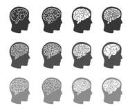 Denk pictogrammen Het denken van hersenen in menselijke hoofdpictogrammen Royalty-vrije Stock Afbeeldingen