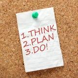 Denk, plan en doe! stock foto's
