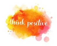 Denk positief Inspirational artistiek citaat, royalty-vrije illustratie