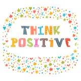 Denk positief Motievenslogan Inspirational citaat vector illustratie