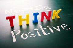 Denk positief, niet negatief Royalty-vrije Stock Afbeeldingen