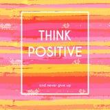 Denk positieve motivatieaffiche Stock Fotografie