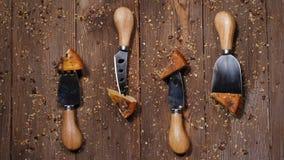Denk verschillend Concept Kaasmessen met stukken van gelicious harde die kaas op houten raad wordt geplaatst Hoogste mening Kruid stock videobeelden