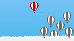 Denk - Zijnd verschillend, gewaagd nemen, beweging voor succes in het leven - verschillend grafisch van hete lucht baloons ook stock illustratie