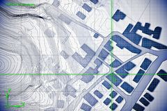 Denkbeeldige kadastrale die kaart van grondgebied met gebouwen en wegen met een CAD CADcomputersoftware worden getrokken in dwg stock foto