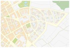 Denkbeeldige kadastrale kaart van een gebied met gebouwen en straten stock illustratie