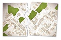 Denkbeeldige kadastrale kaart van grondgebied met gebouwen, wegen en l royalty-vrije illustratie