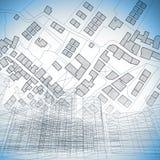 Denkbeeldige kadastrale kaart van grondgebied met gebouwen, wegen en u royalty-vrije illustratie