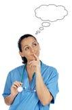 Denken der Dame Doktor Stockbilder