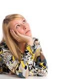 Denken der jungen Frau Stockfotos