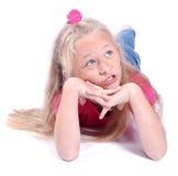 Denken des kleinen Mädchens Stockbilder