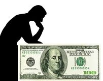 Denken an Geld. Mann u. US-Dollars. Stockbild