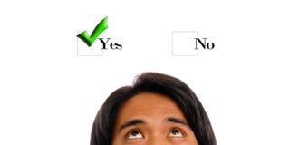 Denken an ja wählen Stockbild