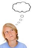 Denken mit Gedankenluftblase Lizenzfreie Stockbilder