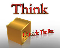 Denken Sie außerhalb des Kasten-Geschäfts-Slogans Stockfotos
