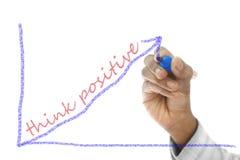 Denken Sie das Positiv, das auf Abwischenbrett geschrieben wird lizenzfreie stockfotografie