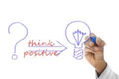 Denken Sie das Positiv, das auf Abwischenbrett geschrieben wird lizenzfreies stockbild