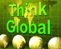 Denken Sie, dass global Betrachtungs-Planeten darstellt und betrachten Sie stock abbildung