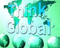 Denken Sie, dass global Erdreflexion und -betrachtung anzeigt stock abbildung