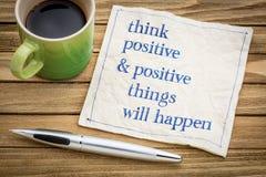 Denken Sie, dass Positiv und Sachen geschehen lizenzfreie stockfotografie