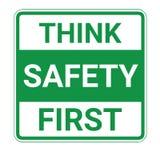 Denken Sie erstes Zeichen der Sicherheit Lizenzfreies Stockbild