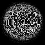 Denken Sie globales Konzept lizenzfreie stockfotografie